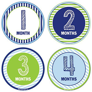 24 Pack Baby Month Stickers and Milestone Stickers by Kenco - Track Your Baby's First Year Month-by-Month and Holidays! Boys and Girls'