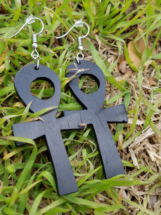 Black Ankh Earrings