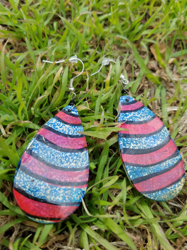 Pink and Blue Tribal Earrings