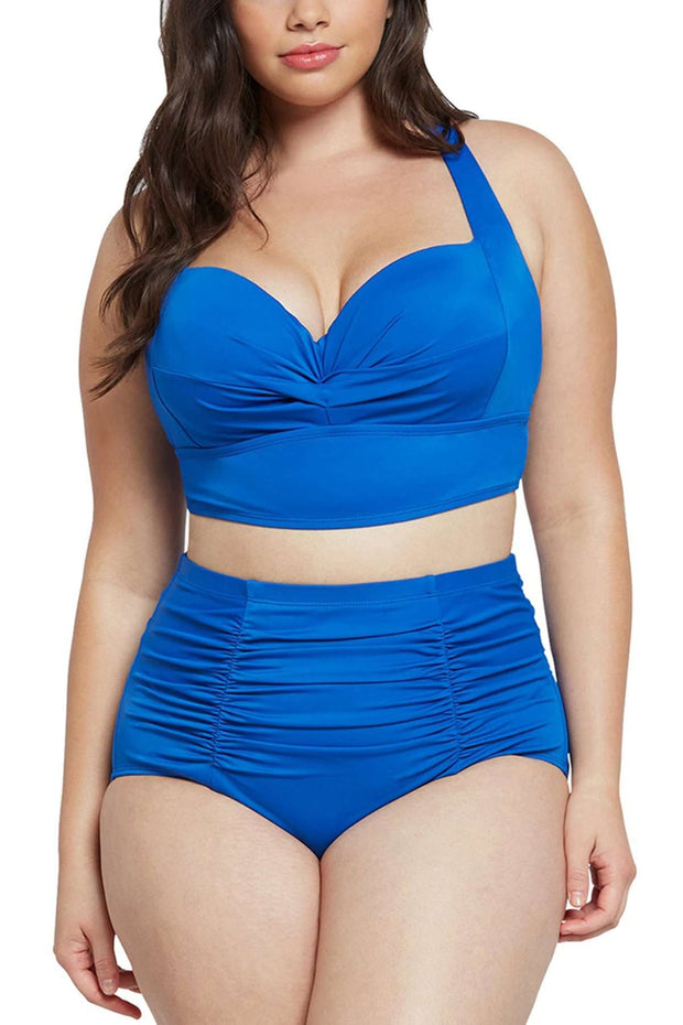Blauer Push-Up-Bikini