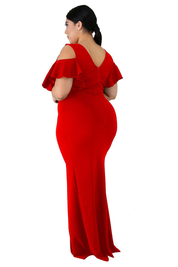 Rotes Cold-Shoulder-Kleid mit Bein-Schlitz