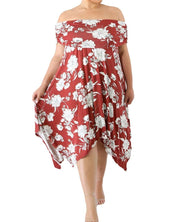 Rotes florales Off-The-Shoulder-Kleid