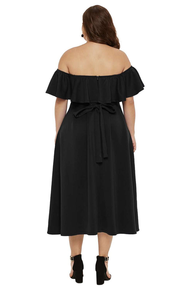 Schwarzes Off-The-Shoulder Kleid mit Volants