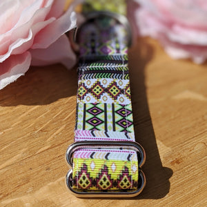 Pink and Green Aztec Dog Collar