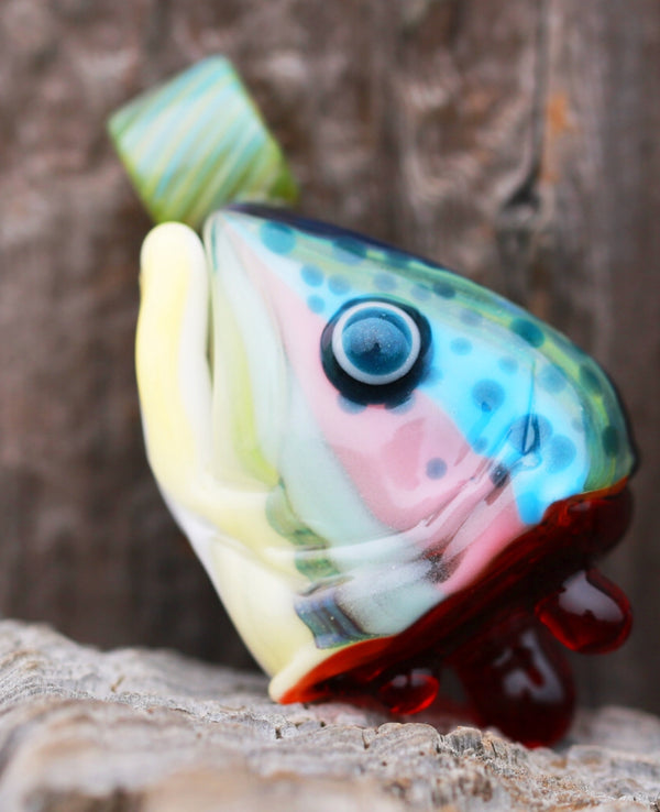 603 Glass - Rainbow Trout Head Pendant