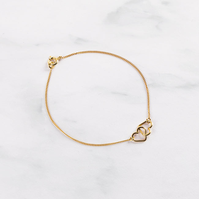 "Armband ""Two Hearts"" Gold"