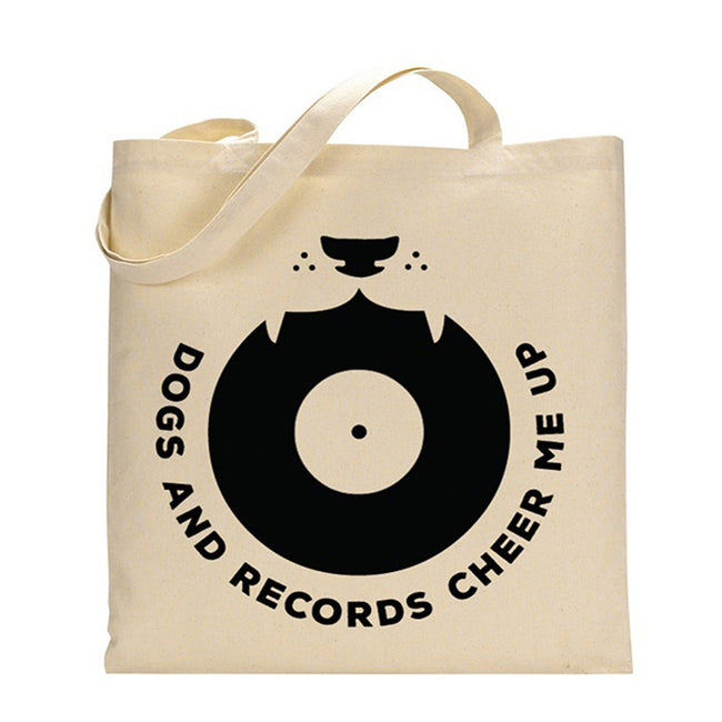 "Jutebeutel ""Dogs And Records Cheer Me Up"" Natur"