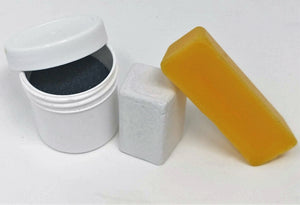 Paper Sharpening Wheels Maintenance Kit - BeesWax, Buffing Compound & Loose Silicon Carbide Grit