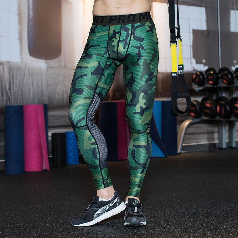 Heren Sportlegging.Heren Camouflage Compressie Sport Legging Sport Statement