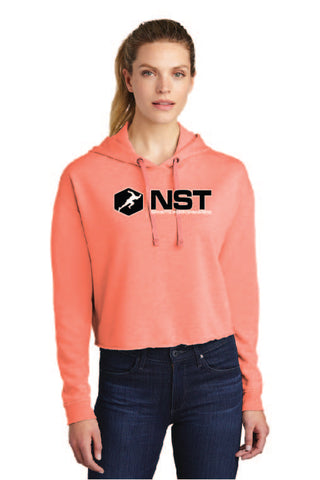 Ladies Tri-Blend Fleece Cropped Hooded Sweatshirt