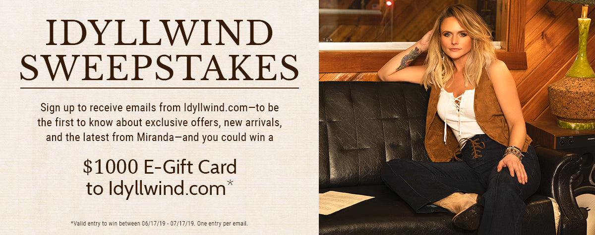 "Idyllwind Summer"" Sweepstakes – Idyllwind Fueled by Miranda Lambert"