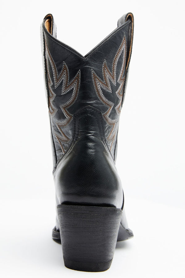 Wheels Black Western Booties - Pointed Toe - Black