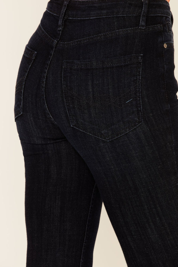 Blue Moon High Risin' Flare Leg Jeans - Dark Blue