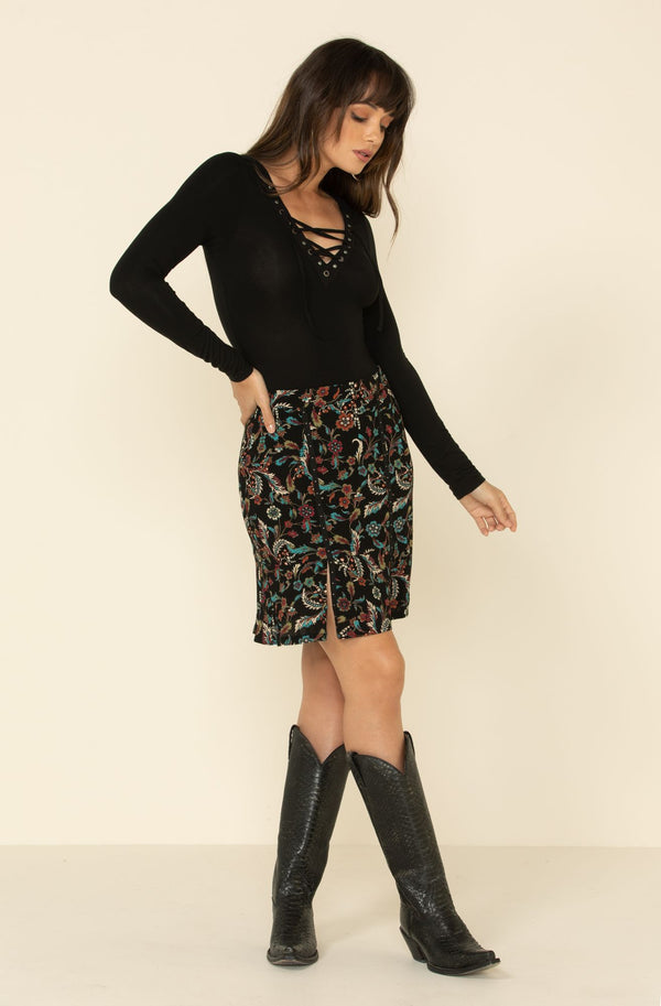 Floral Side Step Printed Skirt - Black