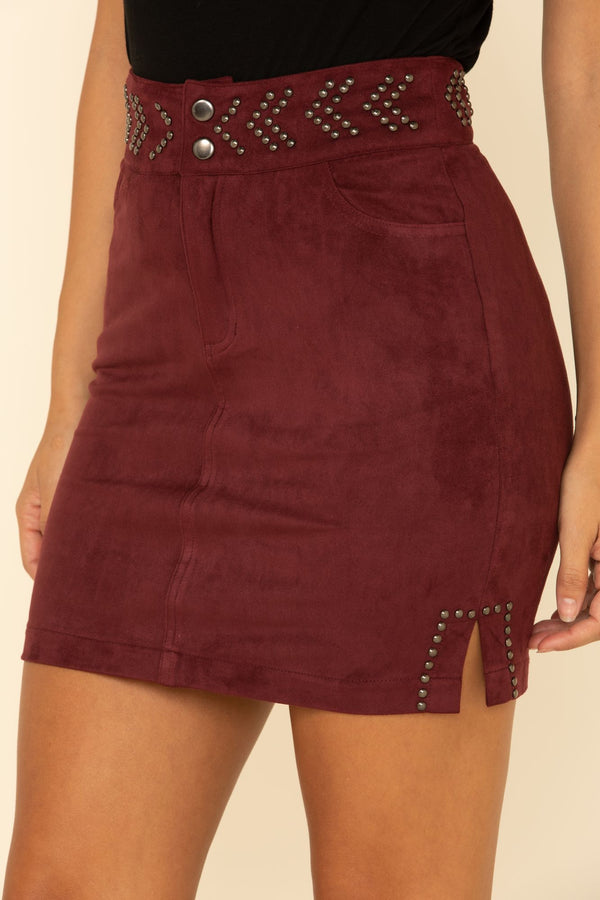 Sundance Studded Skirt - Burgundy