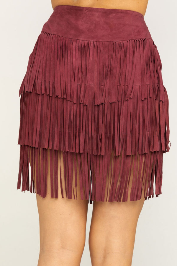 Wine Sway Away Fringe Skirt - Wine