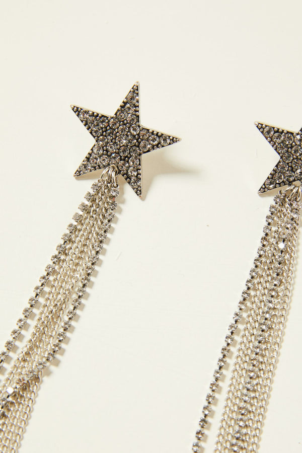 Shooting Star Fringe Earrings - Silver