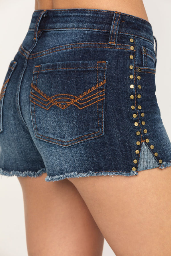 Gold Rusher Studded Denim Shorts - Blue