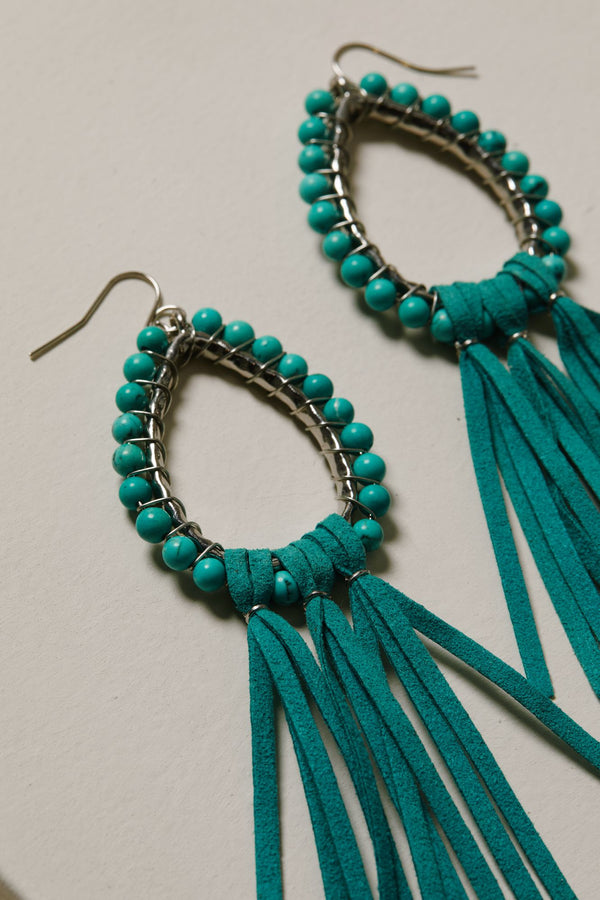 Move Like Me Fringe Earrings - Turquoise