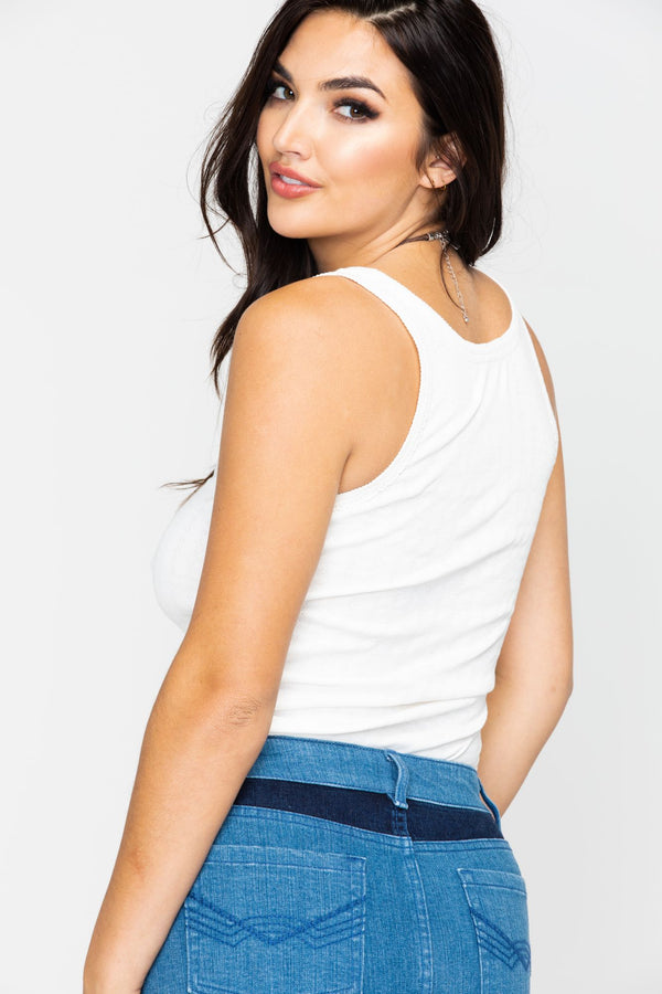 Lace Up Trustie Tank - Ivory