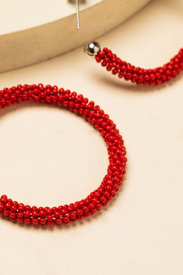 Feeling Firefly Beaded Hoop Earrings - Red