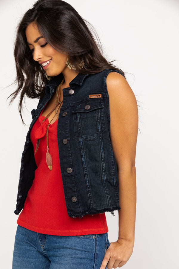 Free To Roam Black Denim Vest - Black