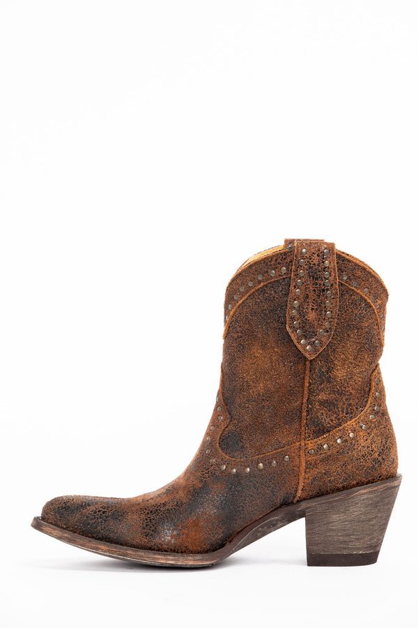 Two Step Western Booties - Round Toe - Rust Copper