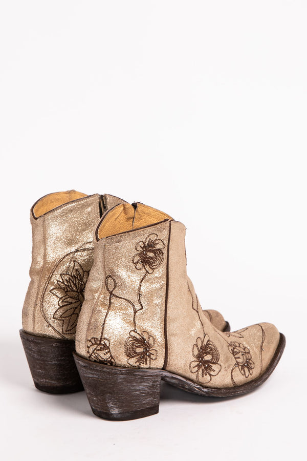 Vegas Gold Western Booties - Round Toe - Gold