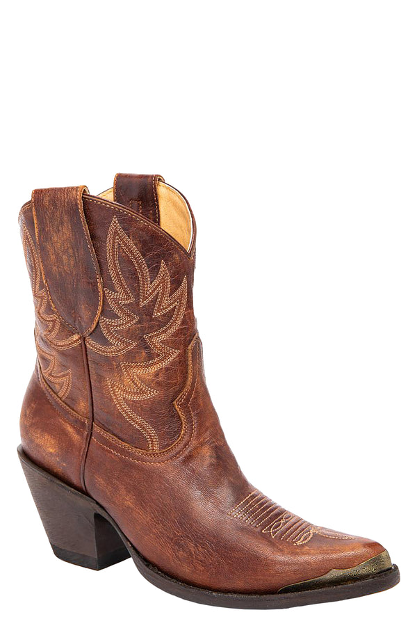 Wheels Brown Western Booties - Pointed Toe