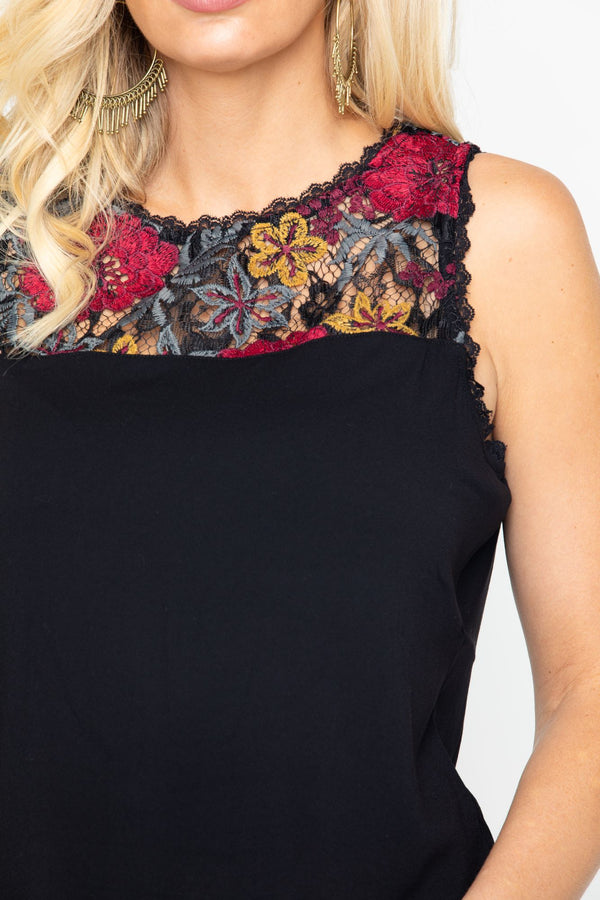 Sweet Tea Floral Lace Tank - Black
