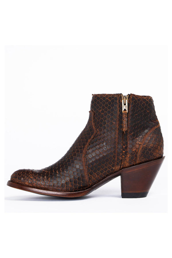 Wings Brown Western Booties - Round Toe