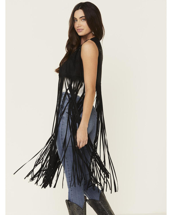 Sway to The Music Studded Fringe Vest
