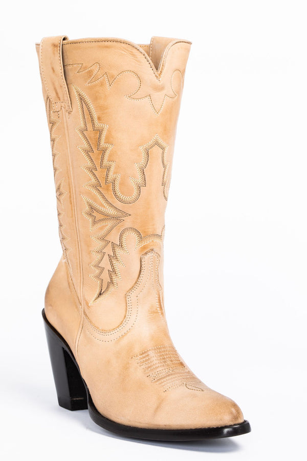 Stride Western Boots - Round Toe - Ivory