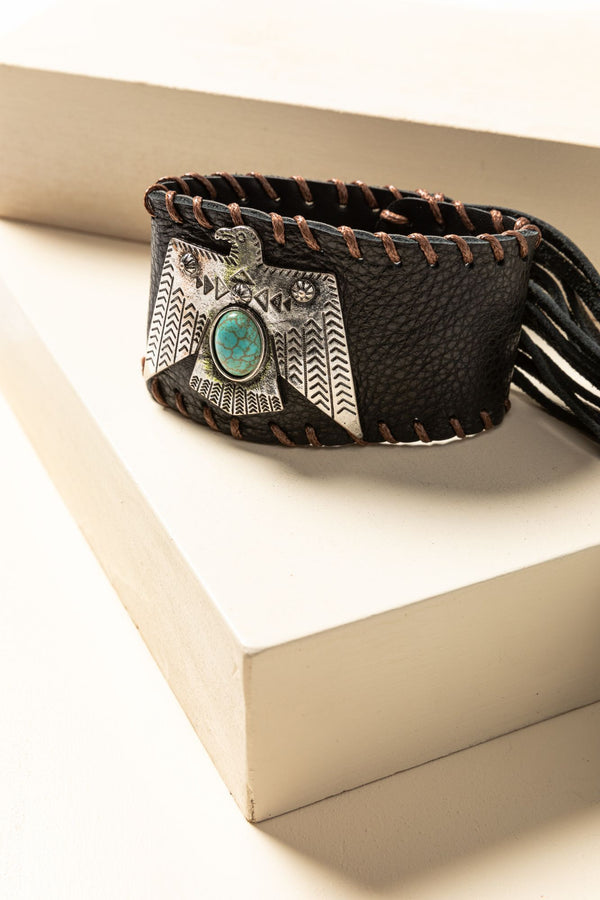 Thunderbird Leather Cuff Bracelet - Brown
