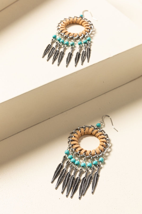 Catching Dreams Fringe Earrings - Tan