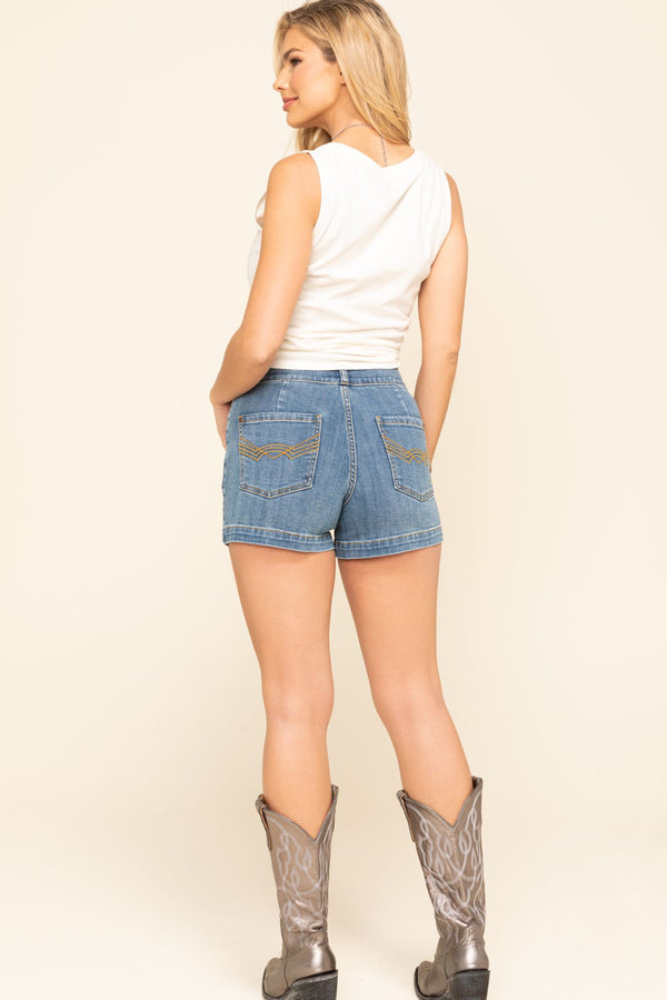Westwood High Rise Denim Shorts - Blue