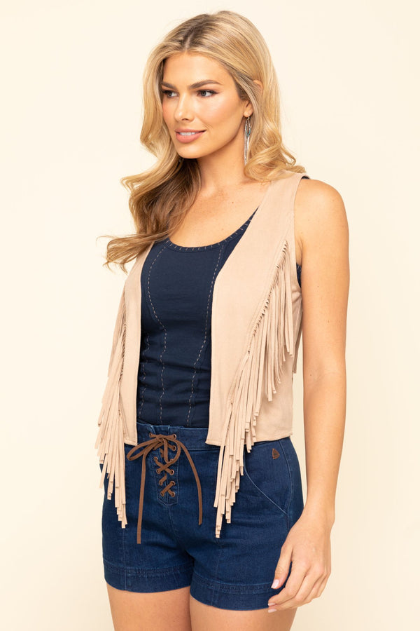 Prideful Fringe Vest - Tan