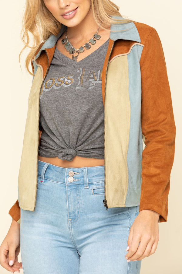 Soaring Star Faux Suede Jacket - Brown