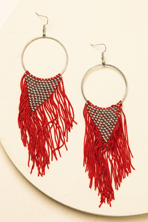 The One In Red Drop Fringe Earrings - Red
