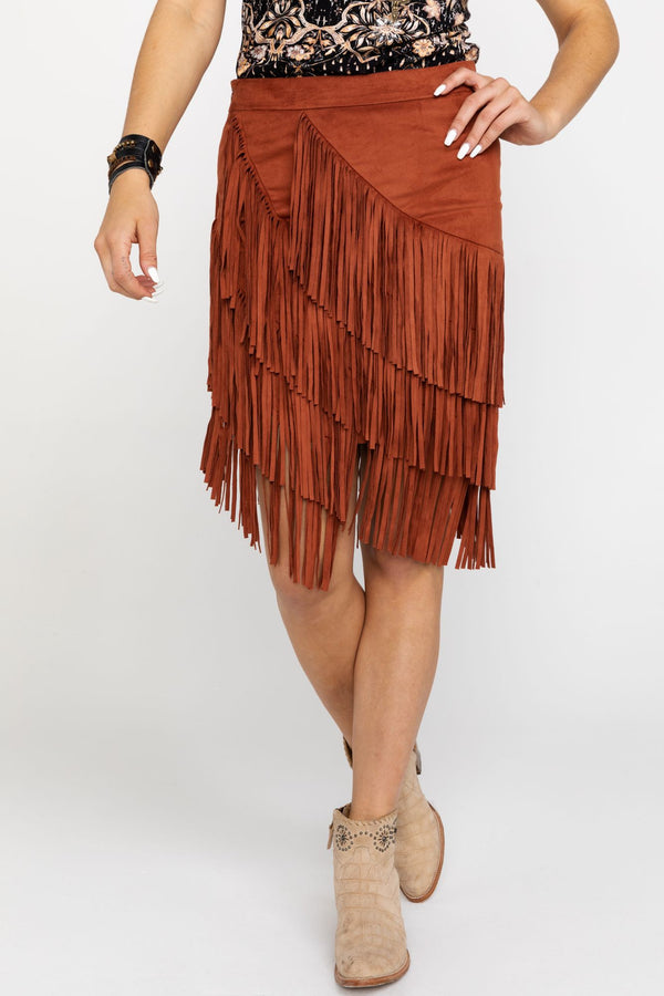 Spellbound Fringe Skirt - Tan