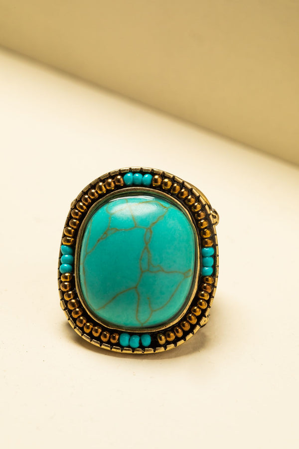 A Hint Of Turquoise Ring - Bronze