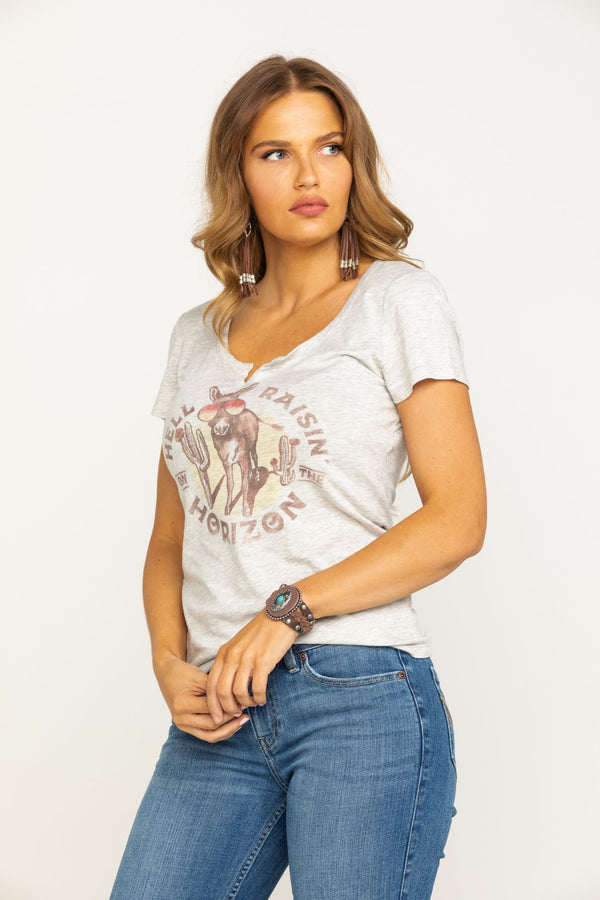 Hell Raisin' Notched Trustie Tee - Heather Grey