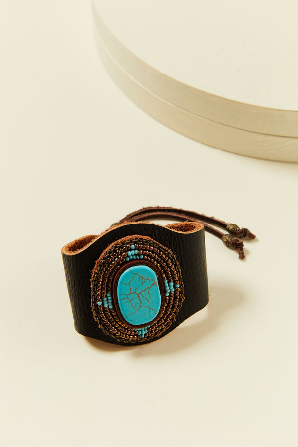 Crossing Roads Turquoise Bracelet - Brown