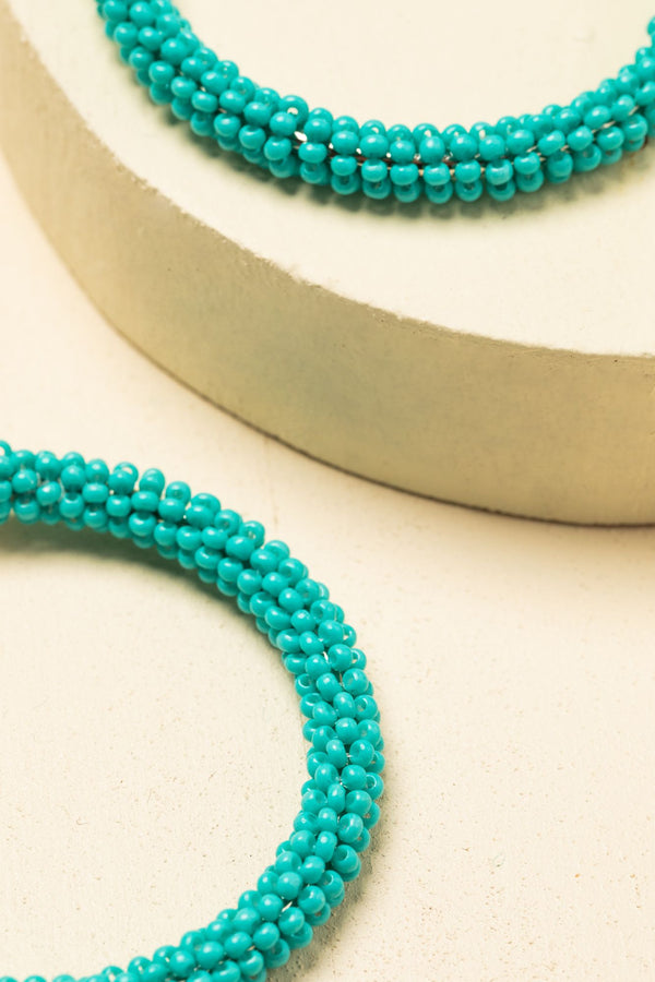 Feeling Blue Beaded Hoop Earrings - Turquoise