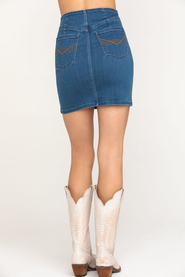 Indigo High Rise Denim Lace Up Skirt - Medium Blue