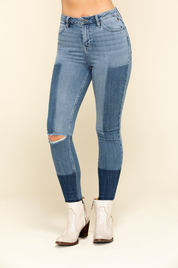High Risin' Patches Skinny High Rise Jeans - Blue