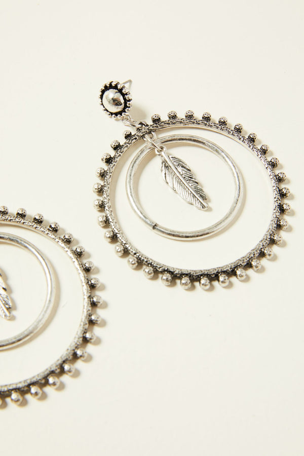 Ruffle My Feathers Circle Earrings - Silver