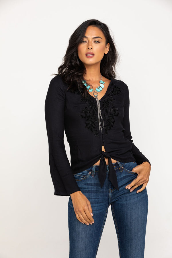 Must Be Magic Tie Front Top - Black
