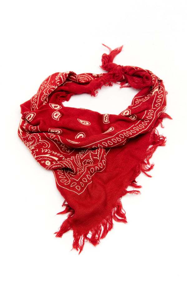 Fiesty And Frayed Haute Red Bandana - Red
