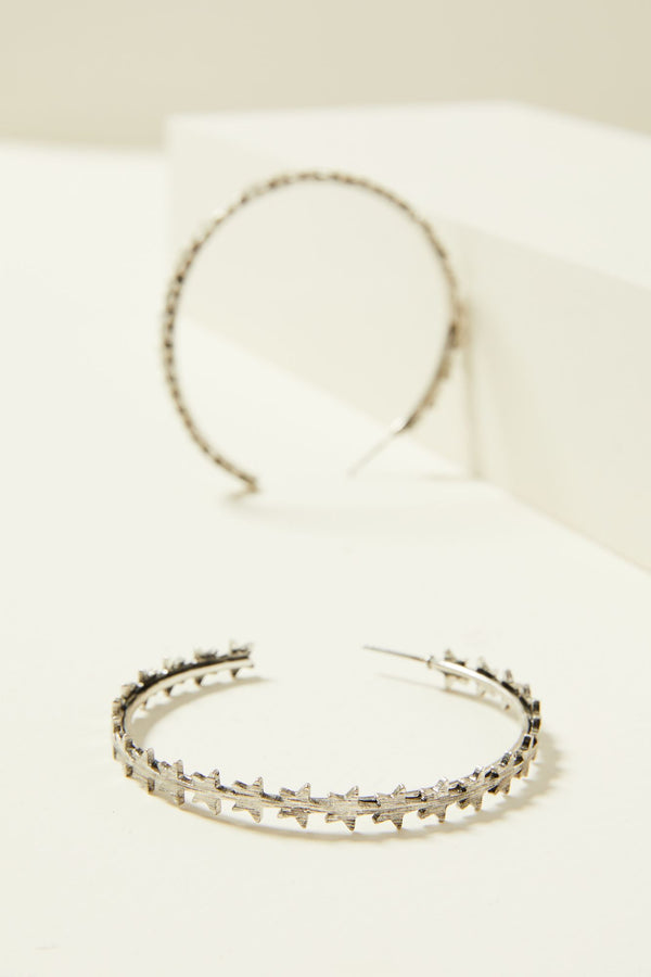 Star Queen Hoop Earrings - Silver